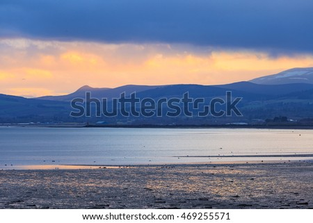 Landscape of mountain at Cromarty Firth during Sunset in Invergordon, Scotland
