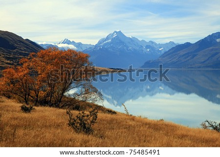 landscape of mountain Cook, the highest mountain in New Zealand,  with its reflection. - stock photo