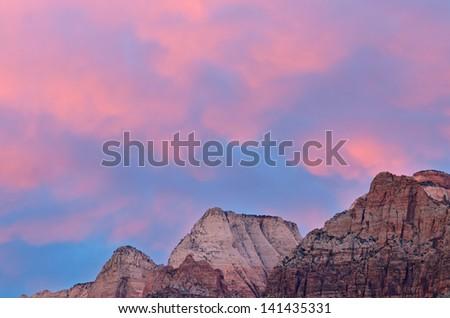Landscape of mountains at sunset, Zion National Park, Utah, USA - stock photo