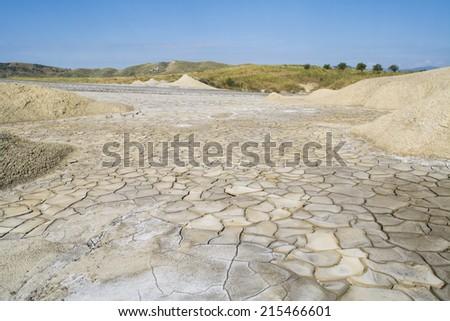 landscape of mud vulcano romania buzau - stock photo