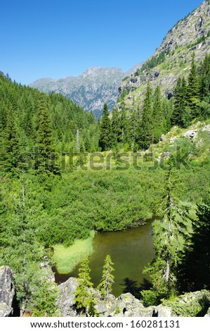 landscape of Natural Park Rila Monastery, Bulgaria - stock photo