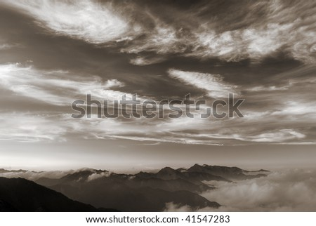 Landscape of nature, beautiful mountain and clouds in sky. - stock photo