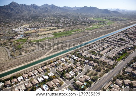Landscape of North Scottsdale at the base of the McDowell Mountains - stock photo