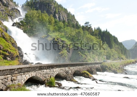 Landscape of Norway, Scandinavia, Europe with amazing waterfall - stock photo
