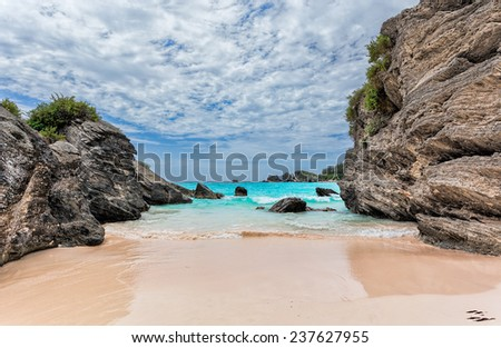 Landscape of Ocean, rock and beach in Horseshoe Bay, Southampton Parish, Bermuda - stock photo