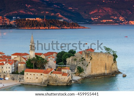 Landscape of old town Budva at sunset. Montenegro. Adriatic sea.