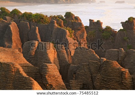 landscape of pancake rock grand canyon of New Zealand - stock photo