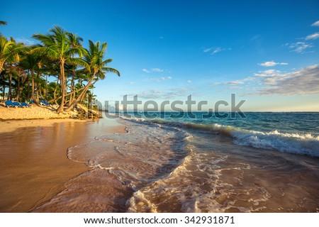 Landscape of paradise tropical island beach, sunrise shot - stock photo