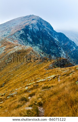 Landscape of Parang mountains in Romania, in autumn