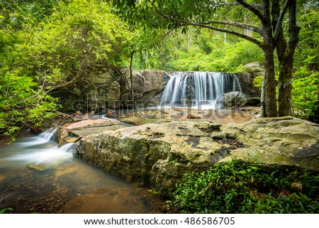 Landscape of peaceful waterfall in the tropical rain forest, thailand