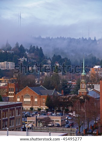 Landscape of Portland in Oregon State - stock photo