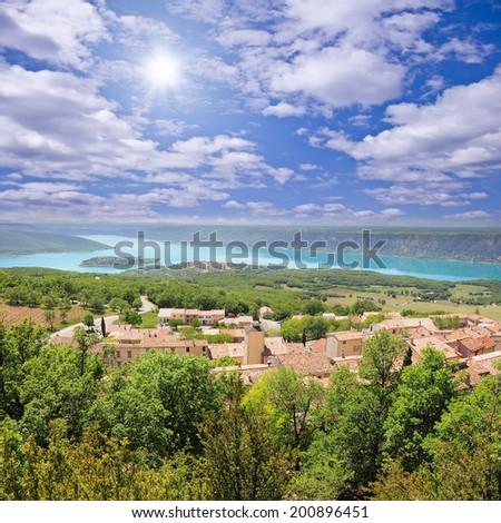 Landscape of Provence. Sainte Croix lake. France.  - stock photo