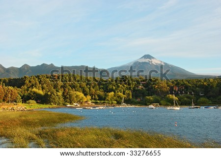 landscape of pucon in chile - stock photo