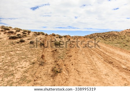 landscape of red sandstone in blue sky,  no body