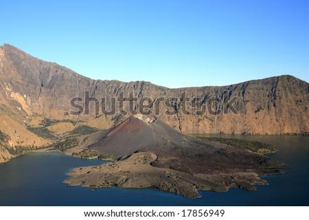 landscape of Rinjani volcano . Lombok island. Indonesia - stock photo