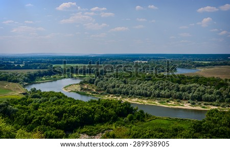 Landscape of river Don in Divnogorie national park, Voronezh region, Russia - stock photo