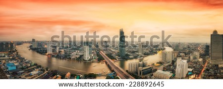 Landscape of River in Bangkok city in night time with bird view - stock photo