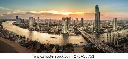 Landscape of River in Bangkok city, Panorama - stock photo