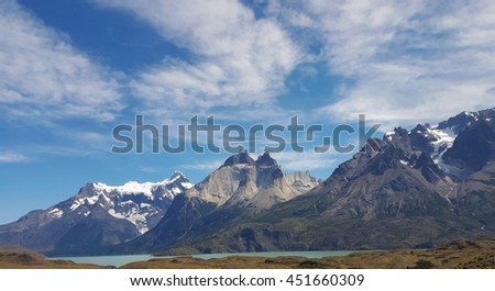 Landscape of rock mountain at the Torres del Paine, Chile - stock photo
