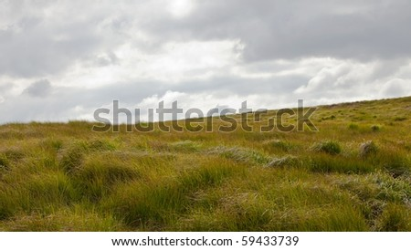 Landscape of rolling hills in Brecon Beacons National park in Wales, UK - stock photo