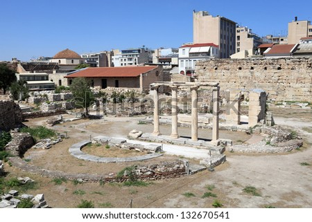 Landscape of roman agora in Athens, Greece - stock photo