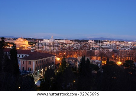 Landscape of Rome by night