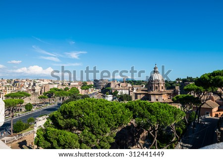 Landscape of Rome on a sunny bright day - stock photo