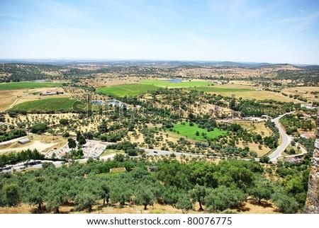 Landscape of rural field at alentejo region,Portalegre, Portugal. - stock photo