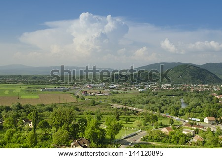 Landscape of rural field at Transcarpathia region, Europe. - stock photo