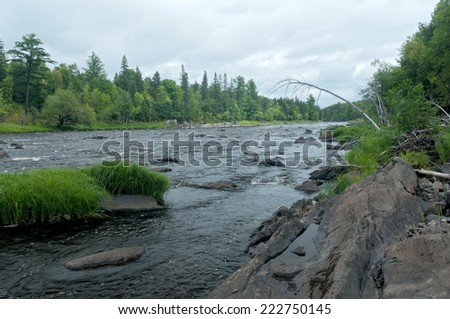 Landscape of Saint Louis River and wooded banks in Jay Cooke State Park near Carlton Minnesota - stock photo