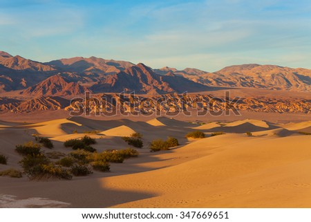 Landscape of sand dunes in Death Valley California - stock photo
