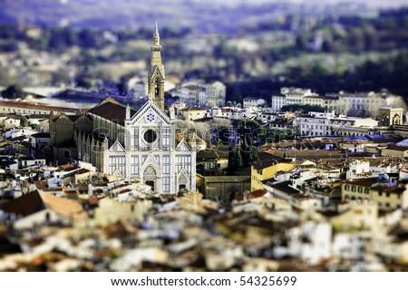 landscape of Santa croce church  with tilt shift lens effect - stock photo