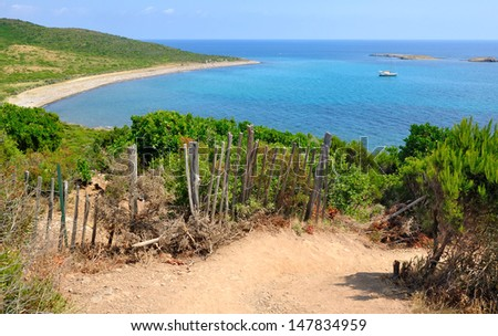 landscape of sea on a trail in the Corsican maquis - stock photo