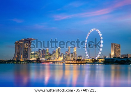 Landscape of skyline Singapore financial district at twilight