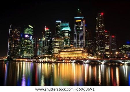 landscape of skyscraper in Singapore business district - stock photo