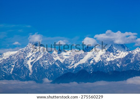 Landscape of Snow Mountain with Blue Sky - stock photo