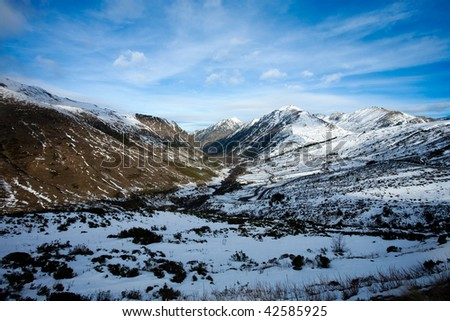 Landscape of snow mountains in Pirineos - stock photo