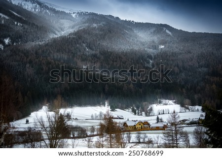 Landscape of snowstorm over Austrian Alps grown with forest - stock photo
