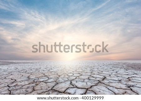 Landscape of soil drought cracked on sky sunset background