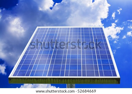 Landscape of solar Panel Against Blue Sky with clouds