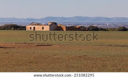 Landscape of spanish stone farm in ruins - stock photo