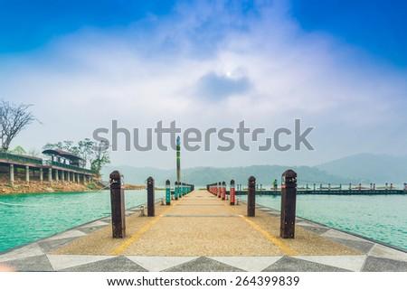 Landscape of Sun Moon Lake pier,  Taichung, Taiwan - stock photo