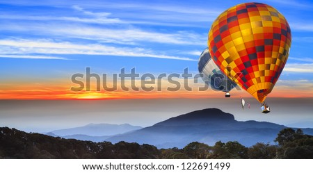 Landscape of sun rise at Doi Inthanon, chiangmai - Thailand, between sunset time. - stock photo