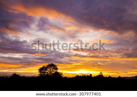 Landscape of sunrise over mountain. - stock photo