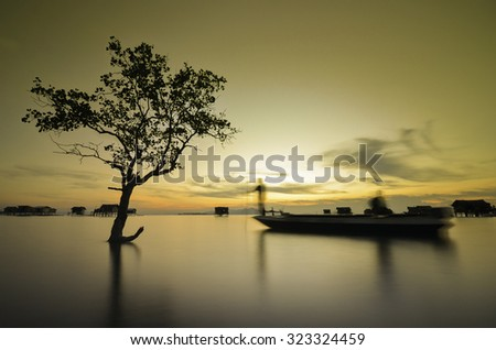 Landscape of sunset with orange sky and silhouette of tree. Long exposure . Image contain certain grain or noise ( the boat has a little movement because of long exposure effect ) - stock photo