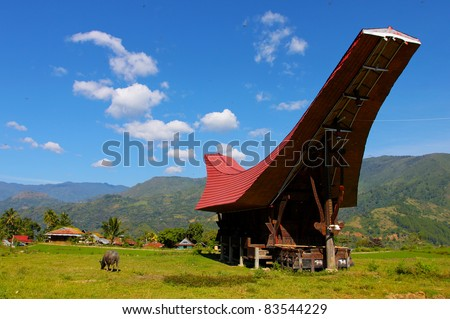 Landscape of Tana Toraja region, Sulawesi, Indonesia - stock photo