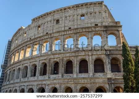 landscape of the ancient arena coliseum in rome italy