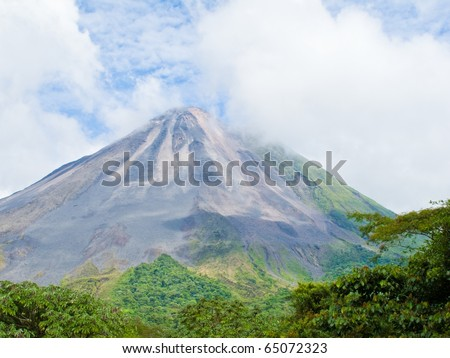 Landscape of the arenal volcano in Costa Rica.
