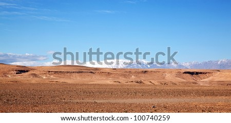 Landscape of the Atlas Mountains of Morocco - stock photo