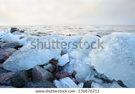 Landscape of the Baltic sea with ice boulders  - stock photo